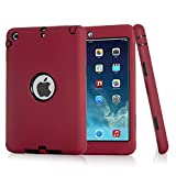 iPad Mini Case, iPad Mini 2 Case, iPad Mini 3 Case,ZERMU 3in1 Heavy Duty Shockproof Rugged Cover Silicone+Hard PC Bumper High-Impact Shock Absorbent Resistant Armor Defender Case for iPad Mini 1/2/3