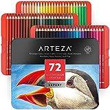 ARTEZA Professional Watercolor Pencils, Set of 72, Multi Colored Art