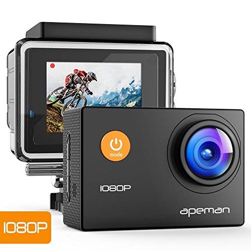 APEMAN A66, Action Cam Full HD 1080P con Custodia Impermeabile Subacqueo Action Sport Camera 170¡ãGrandangolare e Kit Accessori per Ciclismo Nuoto e Altri Sport Esterni, Nero