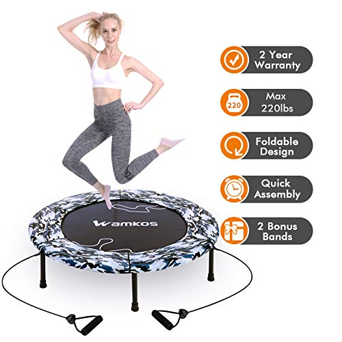 2020 Upgraded Wamkos 40' Rebounder Mini Exercise Trampoline for Adults Kids,Indoor Foldable Fitness Trampoline Trainer with Resistance Bands for Sports & Outdoor,Yoga and Other Jumping Cardio Exercise