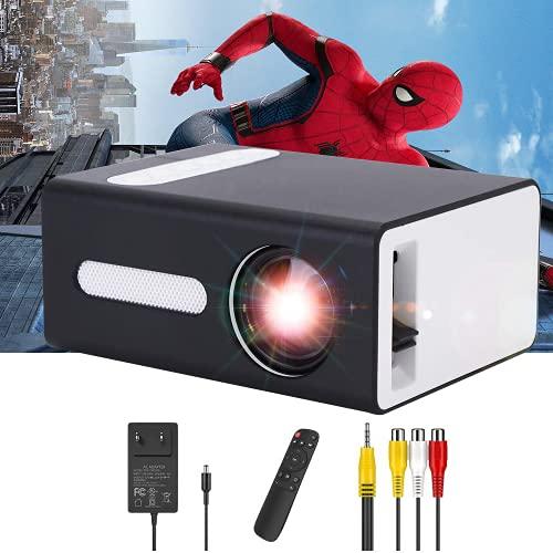 PADZUO Mini projecteur Portable pour appareils Mobiles Compatible avec Prise Jack pour Casque USB HDMI TF AV 3,5 mm Cadeau pour Enfants