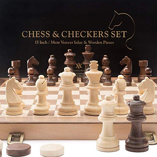 A&A 15' Folding Wooden Chess & Checkers Set w/ 3' King Height Chess Pieces / 2 Extra Queen / German Knight Staunton Wooden Chessmen / Beech Box w/ Walnut & Maple Inlay