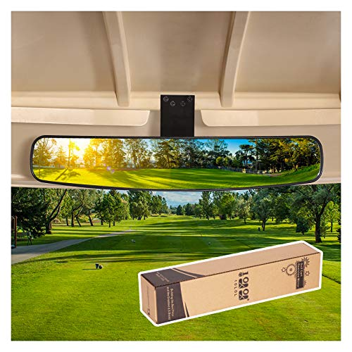 10L0L Wide Rear View Convex Golf Cart Mirror for EZGo, Club Car, Yamaha, Golf Cart Rear View Mirror, Golf Cart Body Wrap