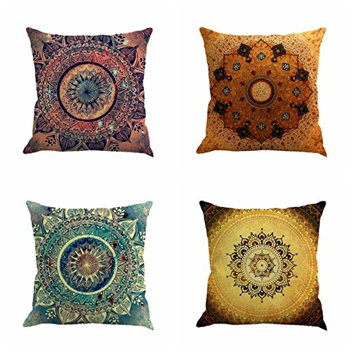 Jartinle Set of 4 Retro Floral Mandala Compass Medallion Bohemian...