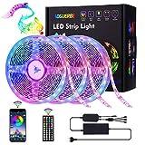 AOGUERBE Ruban LED,15M 5050 RGB Bande LED,Contrôlé par APP du...