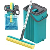 LEARJA Sponge Mop Home Commercial Use Tile Floor Bathroom Garage Cleaning with Sponge Heads Squeegee and Extendable Telescopic Long Handle Easily Dry Wringing(Green Bucket & Yellow Head)