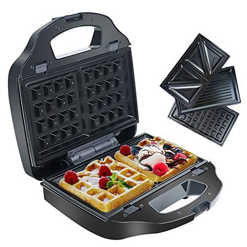 Sandwich Maker Waffeleisen Panini Grill Sandwichtoaster mit 3 in 1 Abnehmbare Antihaftbeschichtete Platten, Signalleuchten, Temperaturregelung - 900W Edelstahl