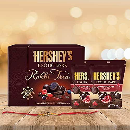 Hershey's Exotic Dark Chocolate Rakhi Gift Pack -Pomegranate|with Rakhi |1 Gift Hamper (2*100 gm Pack) + Rakhi