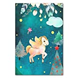 Cute Animals Wall Art Painting Unicorn Elk Cat Poster Prints Nursery Wall Picture for Living Room Home Decoration Kids Baby Room (Sin Marco)