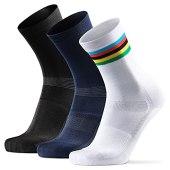 DANISH ENDURANCE Calzini da Ciclismo Lunghi Pacco da 3 (1 x Bianco/A Righe, 1 x Nero, 1 x Blu, EU 43-47)