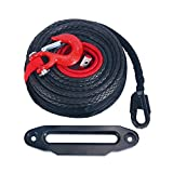 1/2' x 92ft Synthetic Winch Rope Cable Line w/Protective Sleeve 22000 LBs + 10' Aluminum Black Hawse Fairlead + Red Hook Compatible with Jeep ATV UTV SUV Truck Boat Ramsey
