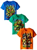 Teenage Mutant Ninja Turtles Boys' Little 3 Pack Tee, Assorted 2, 5/6