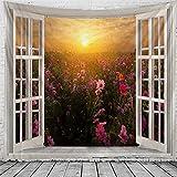 Tapiz de paisaje de ventana 3D hippie pared estilo boho tapiz decorativo tapiz...