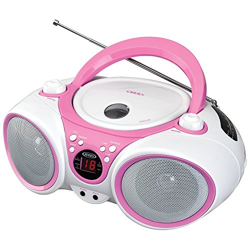 Jensen CD490PW Limited Edition 490 Portable Sport Stereo CD Player +CD-R/RW with AM/FM Radio and Aux Line-in and Headphone Jack, Pink