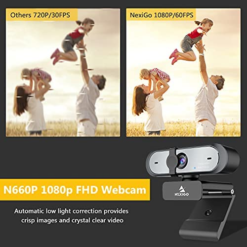 60FPS AutoFocus 1080P Webcam with Dual Microphone & Privacy Cover, 2021 NexiGo N660P Pro HD USB Computer Web Camera, for OBS Gaming Zoom Meeting Skype FaceTime Teams