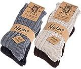 BRUBAKER Chaussettes tricotées en Alpaga - Lot de 4 Paires - 100% Laine d'alpaga - Unisexe - 39-42...