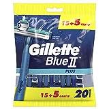 Gillette Blue II Plus Maquinilla de Afeitar Desechables Hombre, Paquete de 20...