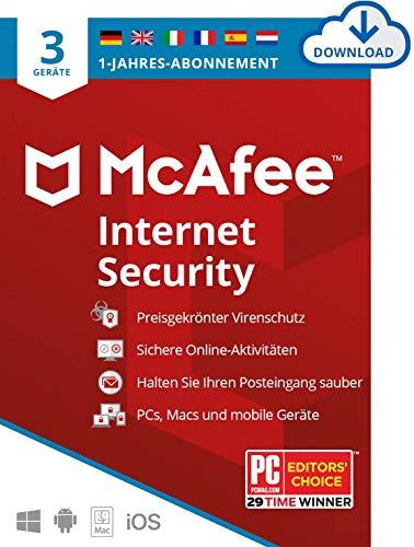 McAfee Internet Security 2021 | 3 Geräte |1 Jahr | Antivirus Software, Virenschutz-Programm, Passwort Manager, Mobile Security| PC/Mac/Android/iOS |Europäische Ausgabe| Aktivierungscode per Email