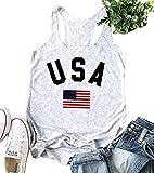 Women's USA Tank Top American Flag Racerback Tanks Top for Women Sleeveless Patriotic Tanks Shirt Size S (White)
