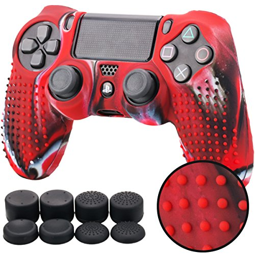 Pandaren BORCHIE silicone custodie cover pelle antiscivolo per PS4 controller x 1 (camuffamento rosso) + FPS PRO thumb grips pollice prese x 8
