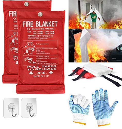 2X Fire Blanket for Home Fire Blankets Emergency for People Fireproof...