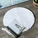 HAOCOO Round Bathroom Rugs, 2ft Non-Slip Luxury Bath Shower Mat Shaggy Area Rug,Water Absorbent, Machine-Washable, Soft Thick Plush Bath Floor Carpet for Living Room Bedroom, White