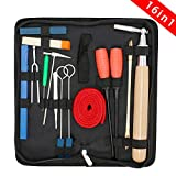 EOSAGA Piano Tuning Kit, Professional 16 Pcs Piano Tuner Tool Set Including Tuning Hammer Mute Lever Felt, Tuning Wrench, Tuning Fork, Temperament Strip, Piano Repairing Accessories