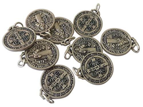 Eurofusioni San Benedetto Medaglia placcata Argento - Diametro 1,5 cm - 10 medagliette