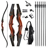 TOPARCHERY Archery 60' Takedown Hunting Recurve Bow and Arrow Set for Adults Practice Competition...