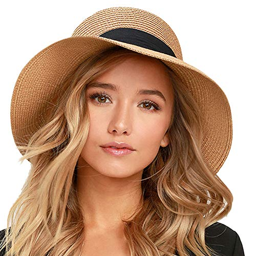 FURTALK Womens Beach Sun Straw Hat UV UPF50 Travel Foldable Brim Summer UV Hat (Medium Size (21.8'-22.4'), New-Black)