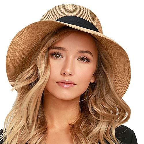 FURTALK Womens Beach Sun Straw Hat UV UPF50 Travel Foldable Brim Summer UV Hat (Medium Size (21.8'-22.4'), New-Black)