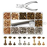 300 Sets 3 Sizes Leather Rivets LANMOK Double Cap Rivet Buttons Press Studs with Pliers and 3 Pieces Fixing Set Tools for Rivets Replacement DIY Craft Repairing Decoration (Leather Rivets)