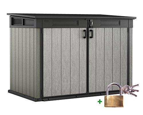 Keter Ondis24 Grande Store XXL Gartenbox Gerätebox abschließbar Mülltonnenbox für 3 Mülltonnen oder Fahrräder 2020 Liter inklusive Vorhängeschloss
