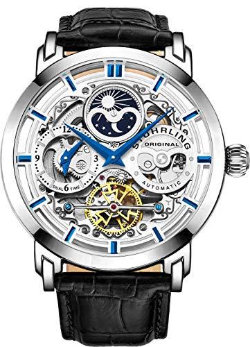 Stuhrling Original Herren Automatik-Selbstaufzug Luxuskleid Skeleton Dual Time Gold-Tone Armbanduhr 22 Jewels 47 mm Edelstahlgehäuse