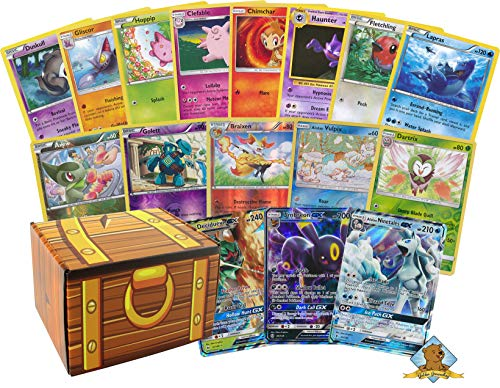 Golden Groundhog 100 Random Pokemon Cards | 2 GX Ultra Rares (200 HP or Higher) + 4 Holo | 100% Authentic Value Pack | Assorted Pokemon Trading Card Lot GG Box