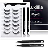 Luxillia by Amazon (Clear + Black) Magnetic Eyeliner with Eyelashes Kit - Free Applicator Tool, 8D Most Natural Look Eyelash No Magnets Needed - Best Reusable False Eye Lash, Waterproof Liner Pen and Lashes