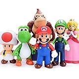 BSNOW Juego de 6 figuras de Super Mario y Luigi de Yoshi & Mario Bros y figuras de acción Mario PVC