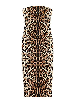 Material: 95% Polyester, 5% Spandex. Soft and comfortable. Features: Fabric has some stretch.Strapless, sleeveless, natural waist line, slim fit bodycon pencil dress.Fashion leopard print creates you a more sexy and trendy look. Occasion: Party, cock...
