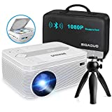 BIGASUO [2021 Upgrade] Full HD Bluetooth Projector with Built-in DVD Player, Portable Mini Projector...