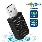 USB WIFI Wlan Adapter, WiFi Stick 1200Mbps Wireless USB 3.0 Adapter Dual Band WiFi (5.8Ghz/867Mbits + 2.4GHz/300Mits) WLAN Empfänger für PC/Laptop unterstützt Windows 10/8/7/Vista/XP Mac OS X