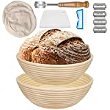 10 Inch Banneton Bread Proofing Basket - 2 PCS Dough Proofing Bowls Rattan Handmade - 8 Pack Bread Proofing Baking Set w/Liner+ Dough Scraper+ Bread Lame+ Brush for Home&Professional Bakers