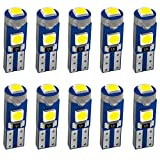 JAVR 10-Pack 3030 3 SMD 12V LED blanche T5 / 74 73 2723 2721286 W3W W1.2W...