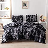 Smoofy Queen Comforter Set, Black Marble Pattern Printed Bed Comforter, Soft Fabric with Brushed Microfiber Fill Bedding(1 Comforter, 2 Pillowcases)