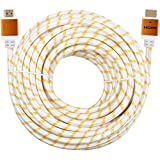 CableVantage Premium HDMI Cable 100FT 100feet V1.4 for 1080P 3D TV DVD PS4 PS3 360 HDTV Monitor Braided Nylon HDMI Cord, Gold Tip White