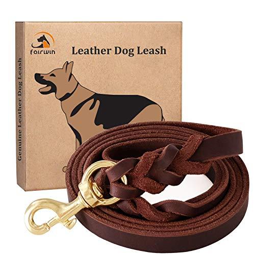 FAIRWIN Braided Leather Dog Training Leash 6 Foot...