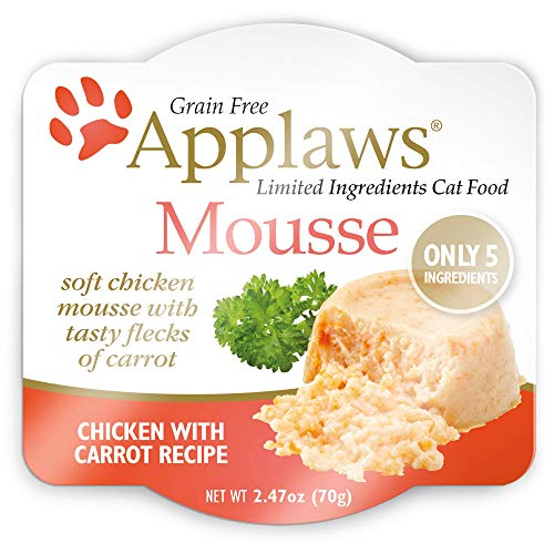 Applaws Mousse Wet Cat Food, Grain Free, Only 5 Ingredients, 2.5oz. (1 Pouch) (Chicken with Carrot)
