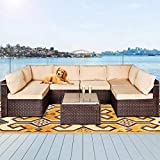 LAFWELL 7 Pieces Outdoor Patio Furniture Sets,Rattan Conversation Sectional Set,Manual Weaving Wicker Patio Sofa with Cushions and Tea Table