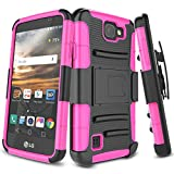 LG K3 Case, TILL [Knight Armor] Heavy Duty Rugged Holster Resilient Armor Case [Belt Swivel Clip][Kickstand] Combo Cover Shell for LG K3 Boost Mobile/Virgin Mobile LS450 [Hot Pink]