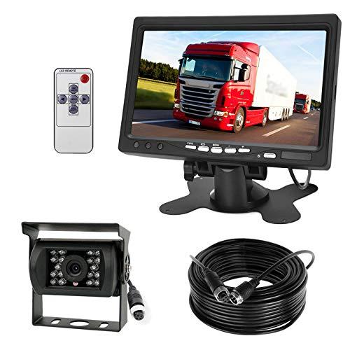 Telecamera di retromarcia 4pin, 12V-24V, 18 LED, a infrarossi, per visione notturna, impermeabile, con cavo da 15m + schermo HD TFT LCD da 7 pollici, per camper, camion, rimorchi, bus