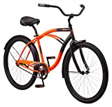 Kulana Lakona Shore Adult Beach Cruiser Bike, 26-Inch Wheels, Single Speed, Orange/Black (R7350AZ)
